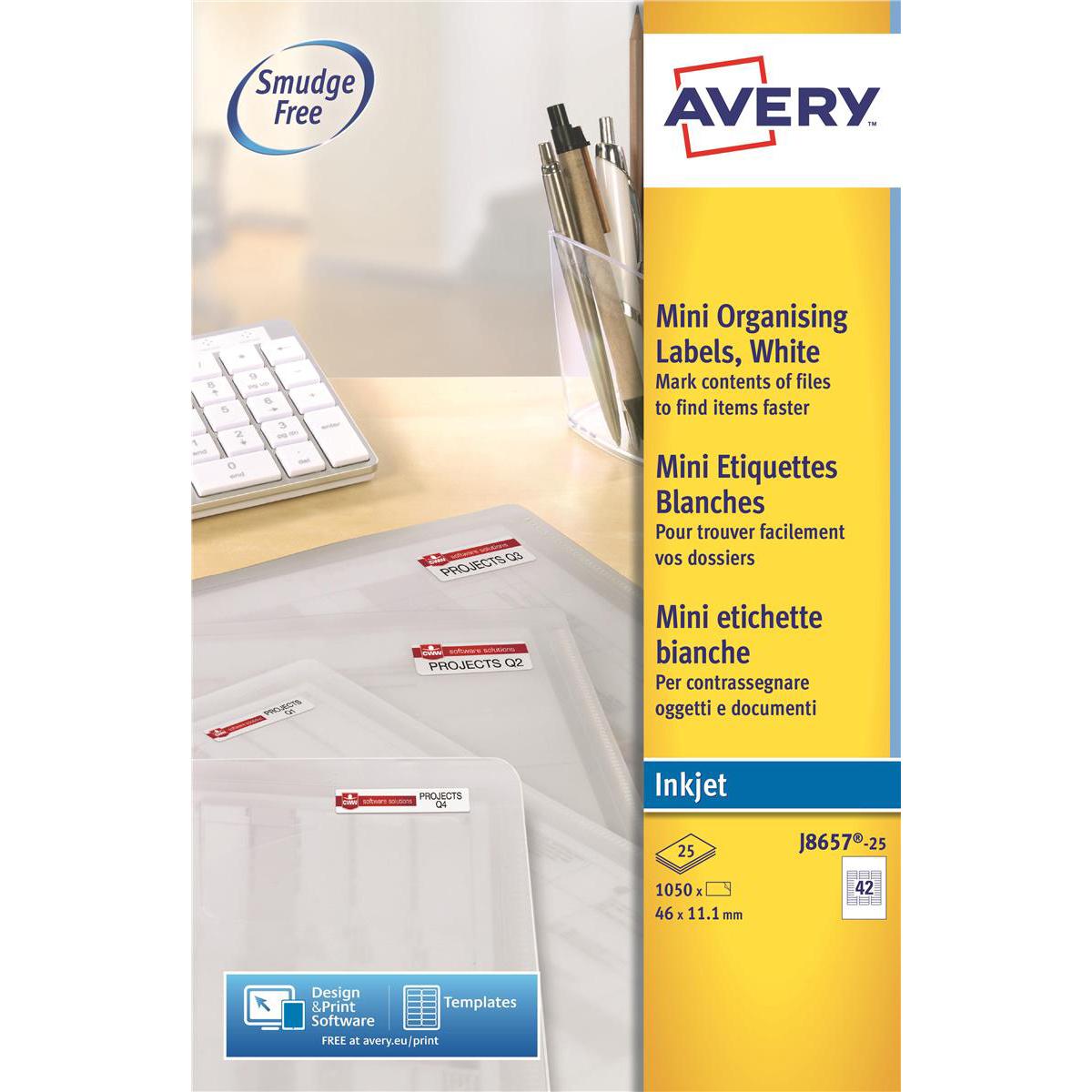Avery Mini Multipurpose Labels Inkjet 42 per Sheet 35mm Film Slides 46x11.1mm Ref J8657-25 1050 Labels