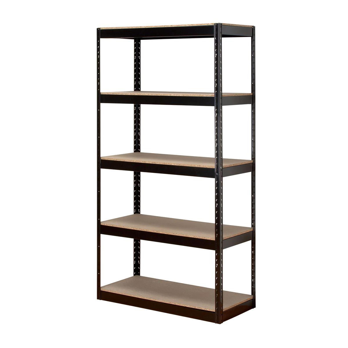 Over 1200mm High Trexus Storage Shelving Unit Heavy-duty Boltless 5 Shelves Capacity 150kg Black Ref SP414581