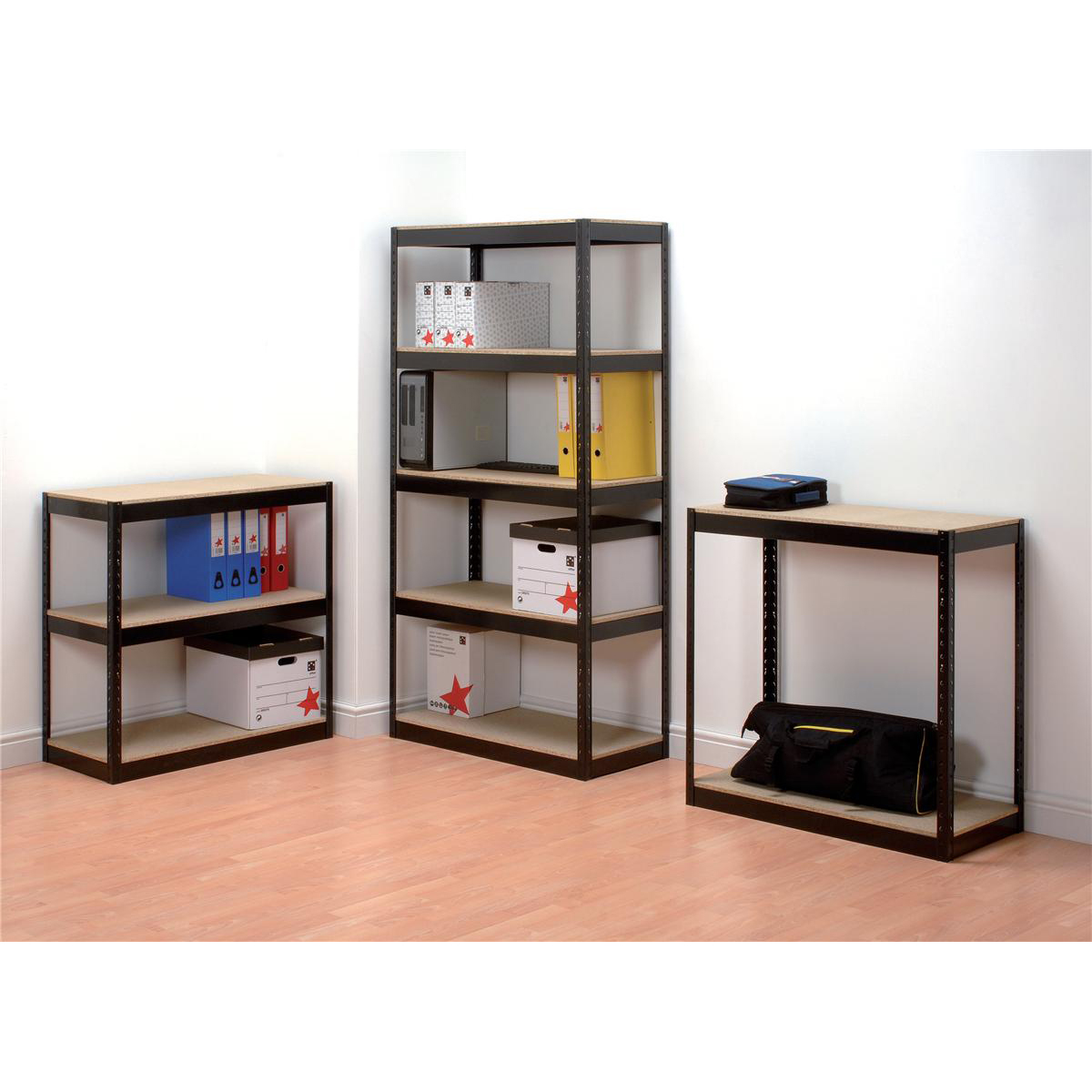 Influx Storage Shelving Unit Heavy-duty Boltless 5 Shelves Capacity 150kg Black Ref SP414581