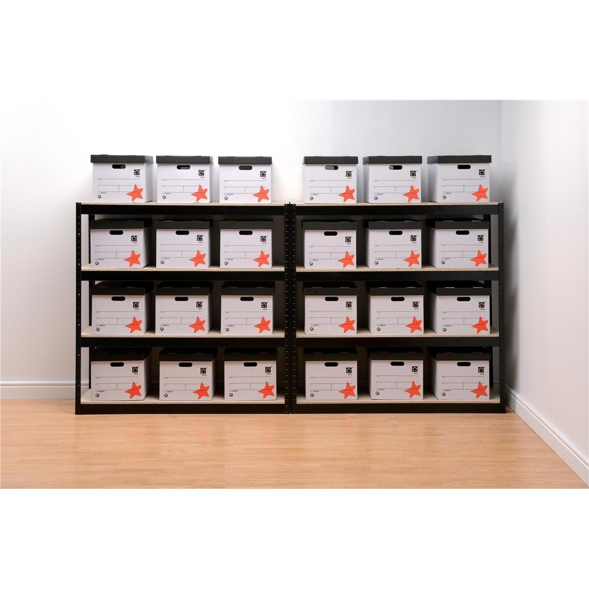 Trexus Archive Shelving Unit Heavy-duty Boltless 4 Shelves Capacity 4x 100kg W1320xD450xH1315mm Black