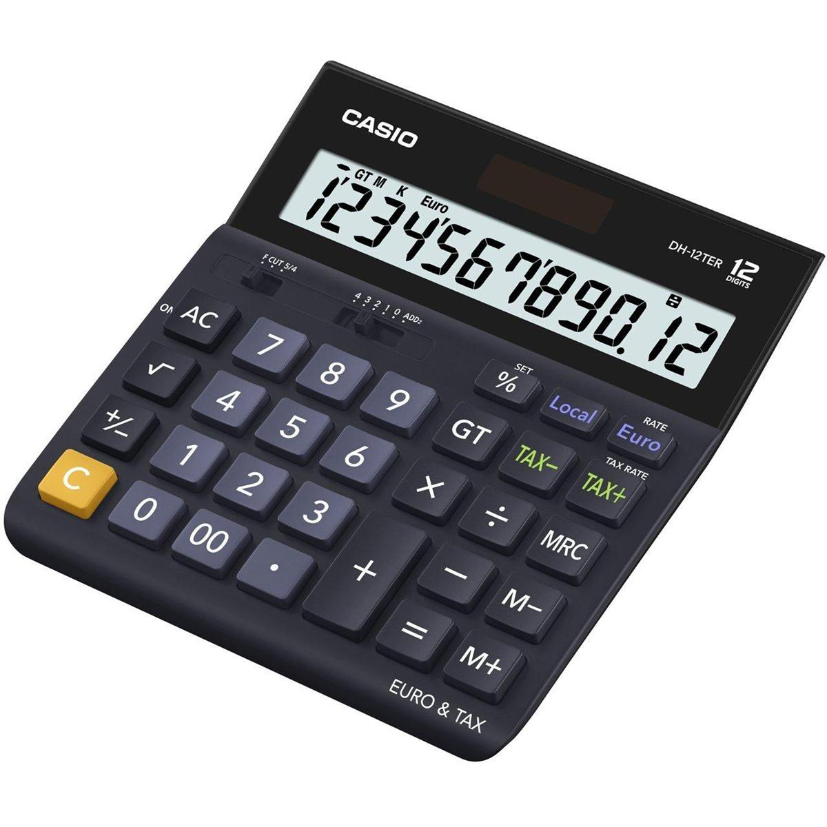Desktop Calculator Casio Desktop Calculator 12 Digit 4 Key Memory Battery/Solar Power 151x32x158mm Black Ref DH-12TER