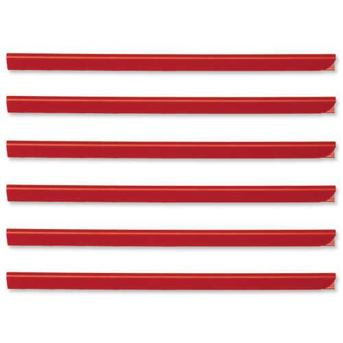 Spine Bars for 60 Sheets A4 Capacity 6mm Red Pack 50