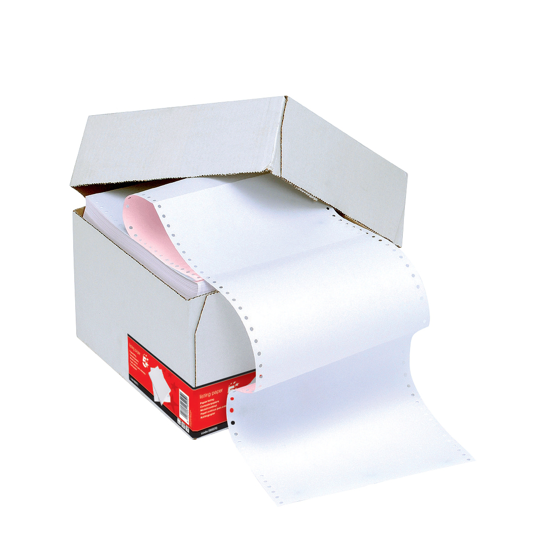 5 Star Office Listing Paper 2-Part Carbonless Perf 56/57gsm 11inchx241mm Plain White/Pink [1000 Sheets]