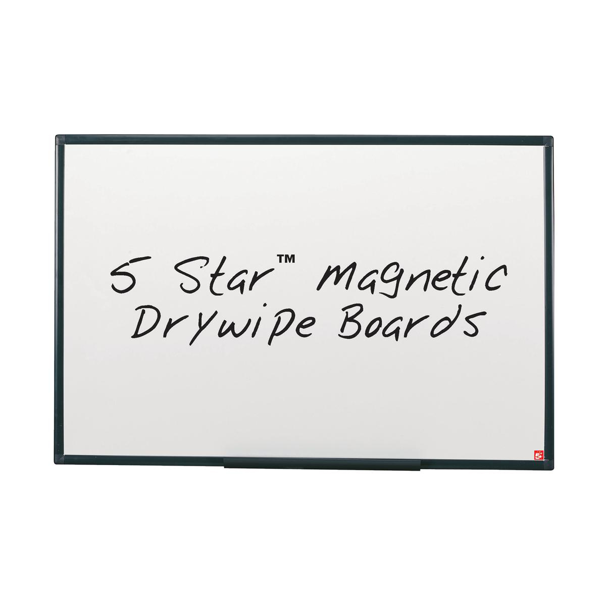 Magnetic 5 Star Office Magnetic Drywipe Board Steel Trim with Fixing Kit and Detachable Pen Tray W1200xH900mm