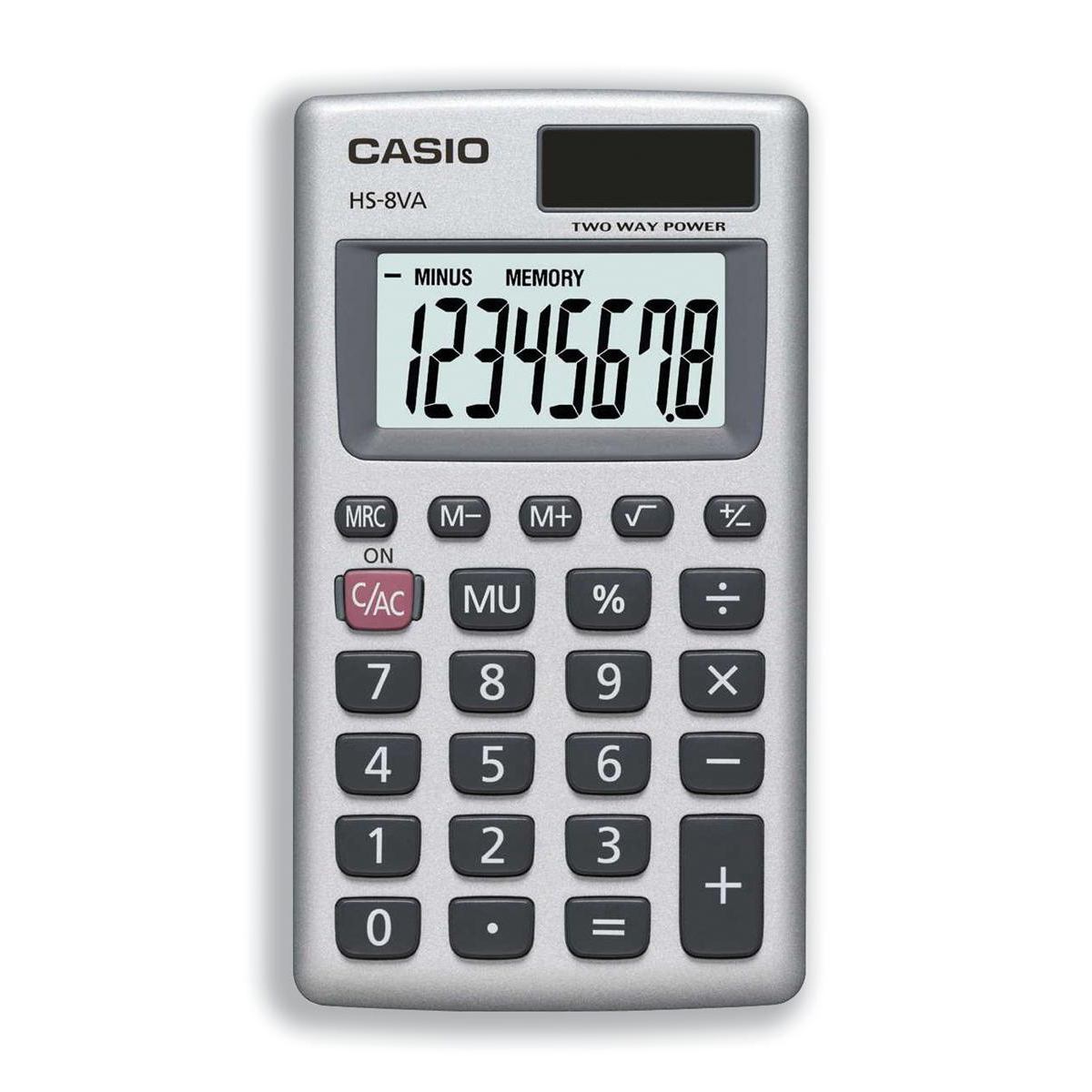 Handheld Calculator Casio Handheld Calculator 8 Digit 3 Key Memory Solar and Battery Power 57x7x102mm Silver Ref HS8V-S-U-H