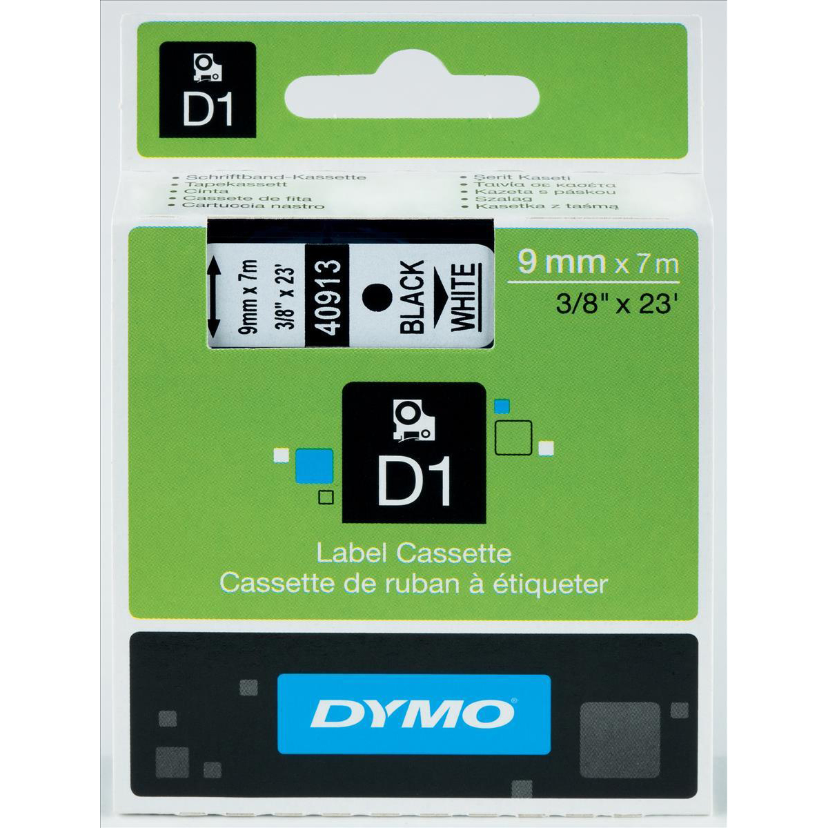 Dymo D1 Tape for Electronic Labelmakers 9mmx7m Black on White Ref 40913 S0720680