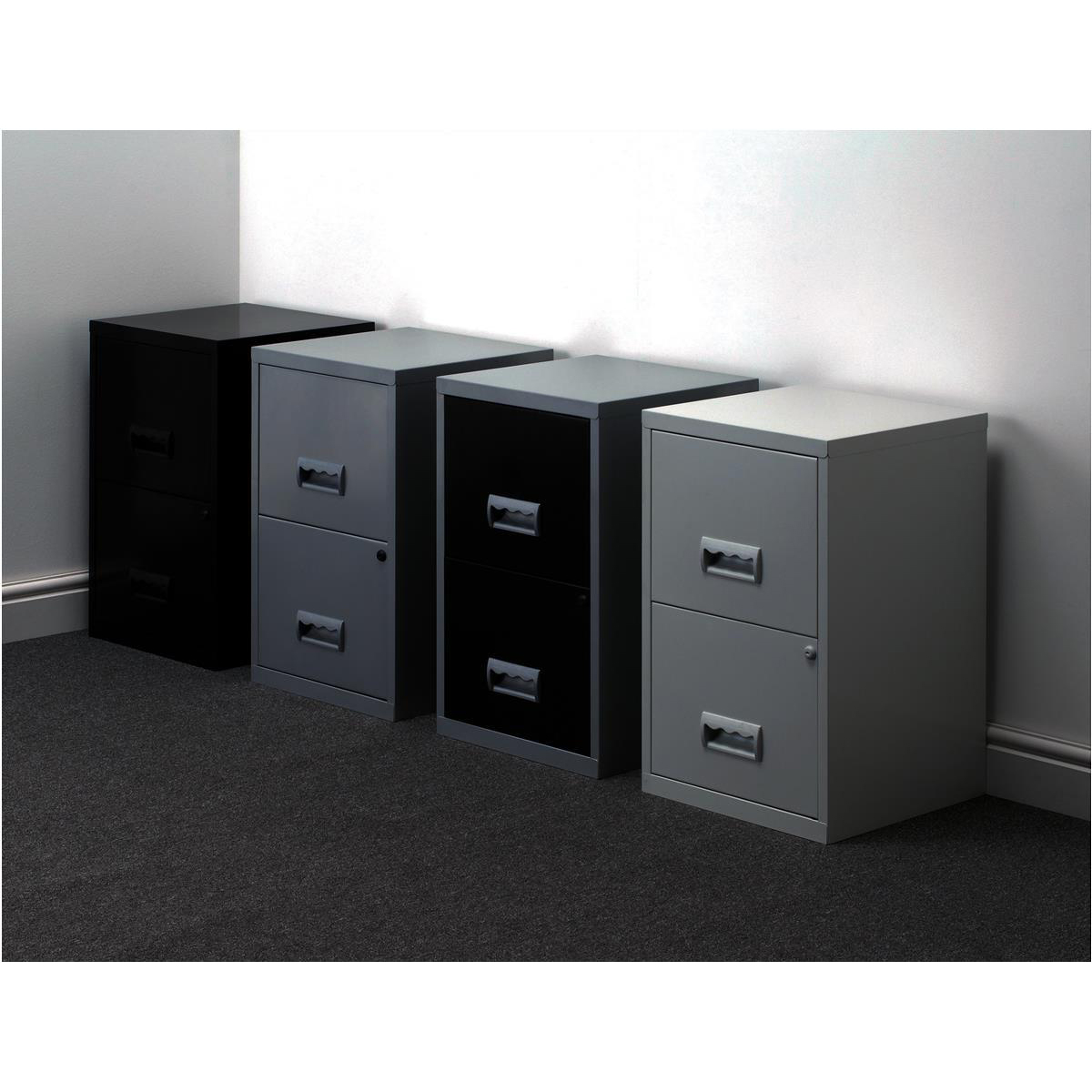 Filing Cabinet Steel 2 Drawer A4 400x400x660mm Ref 95010