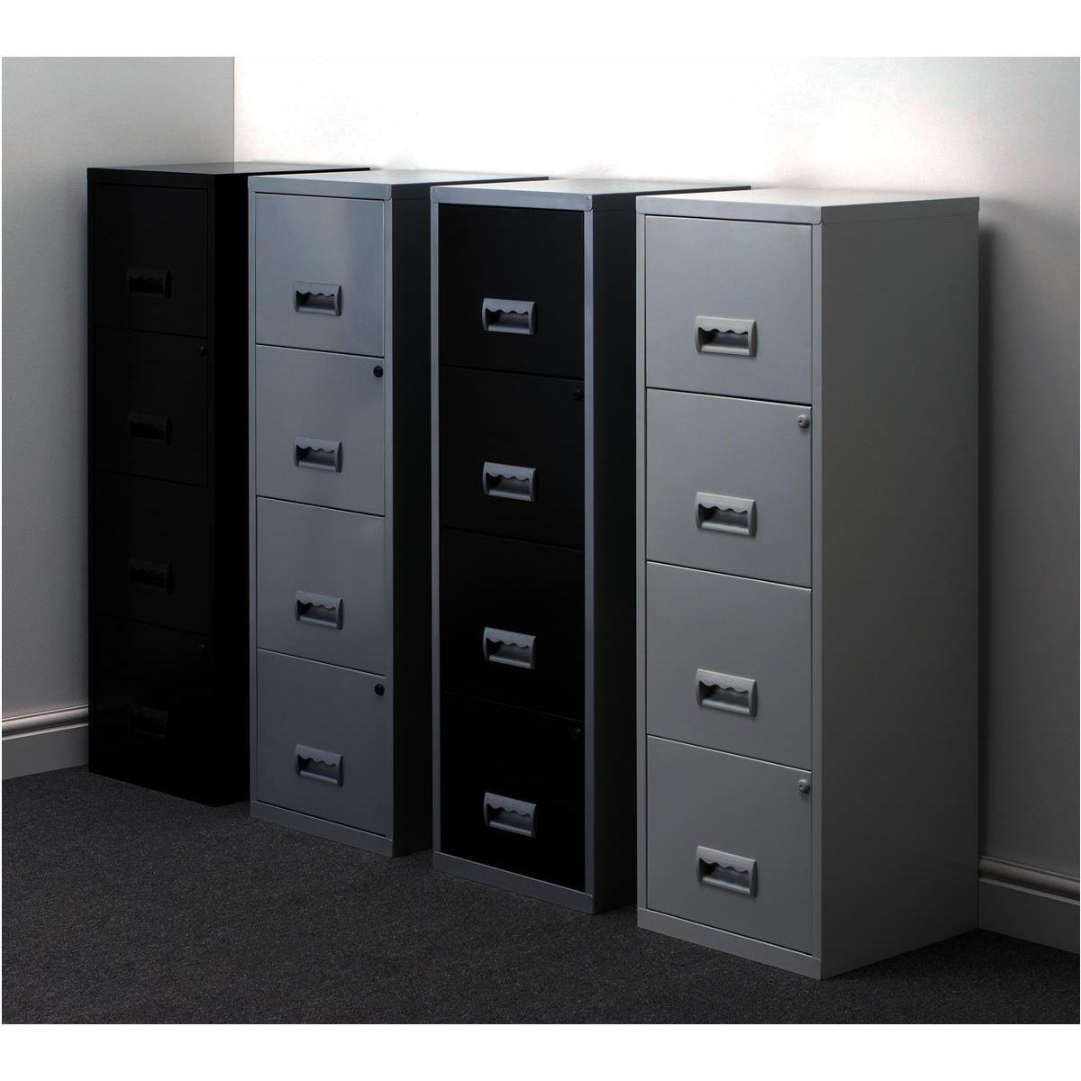 Filing Cabinet Steel 4 Drawer A4 400x400x1250mm Ref 95809
