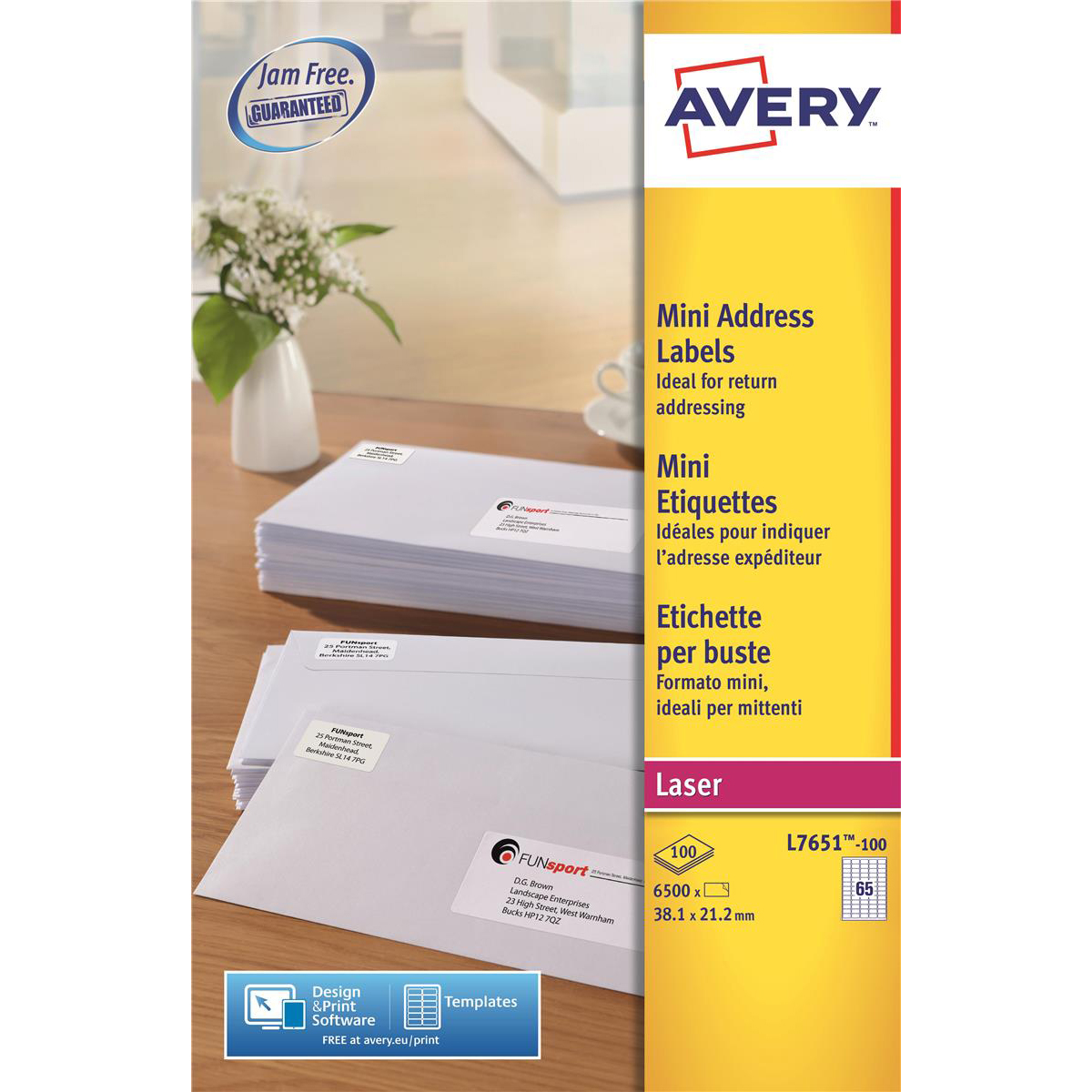 Avery Mini Address Labels Laser 65 per Sheet 38.1x21.2mm White Ref L7651-100 [6500 Labels]
