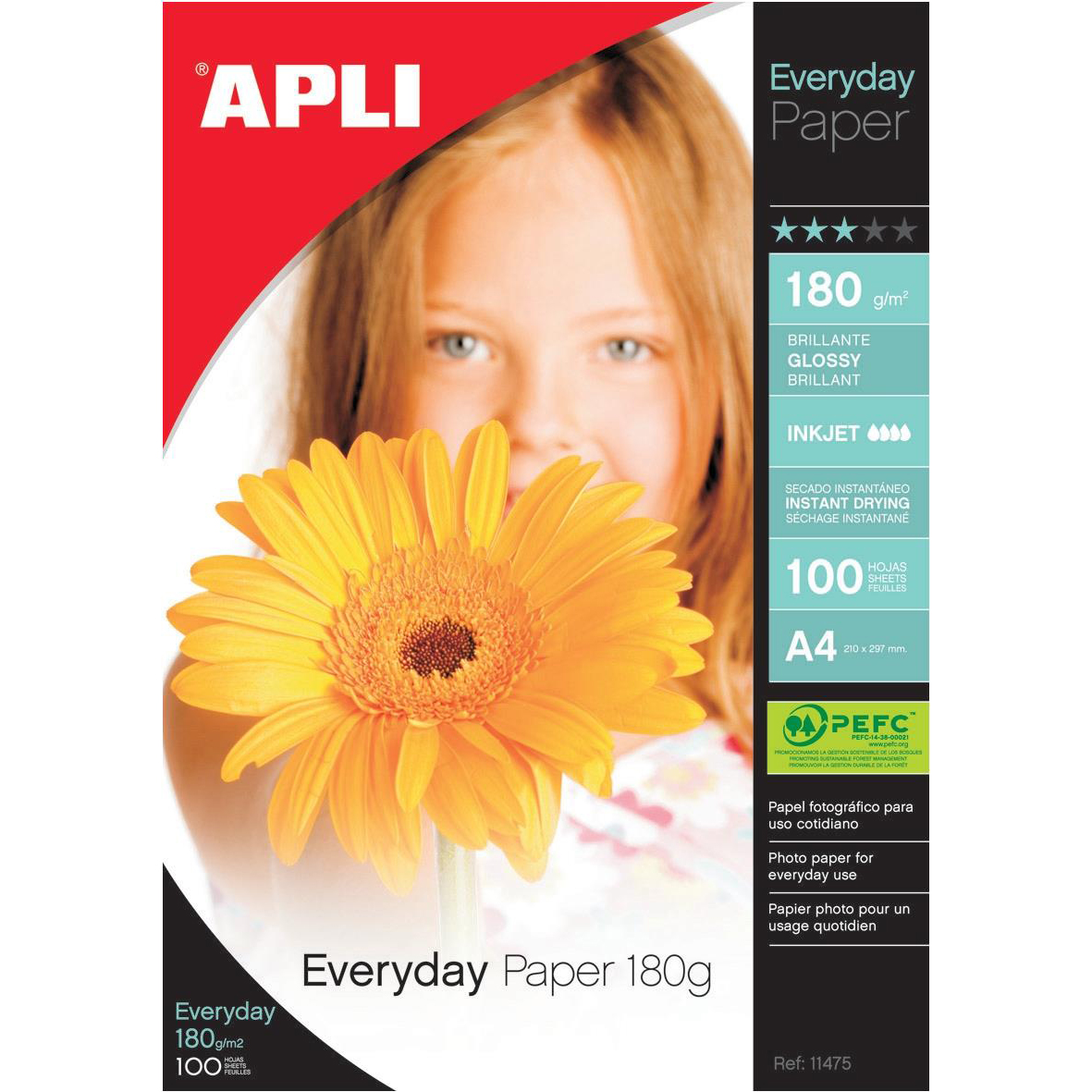 Photo Paper Apli Everyday Paper Glossy 180gsm A4 Ref 11475 100 Sheets