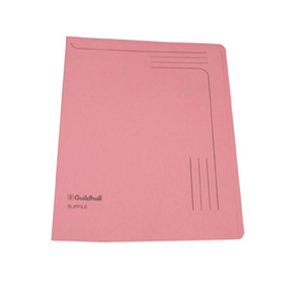 Image for Guildhall Slipfile 230gsm Capacity 50 Sheets A4 Pink Ref 4604Z [Pack 50]