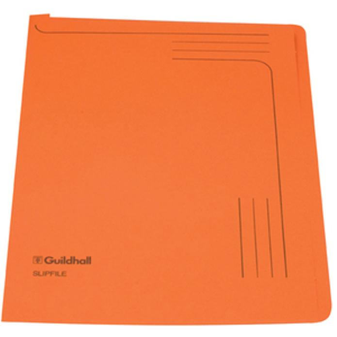 Image for Guildhall Slipfile 230gsm Capacity 50 Sheets A4 Orange Ref 4607Z [Pack 50]