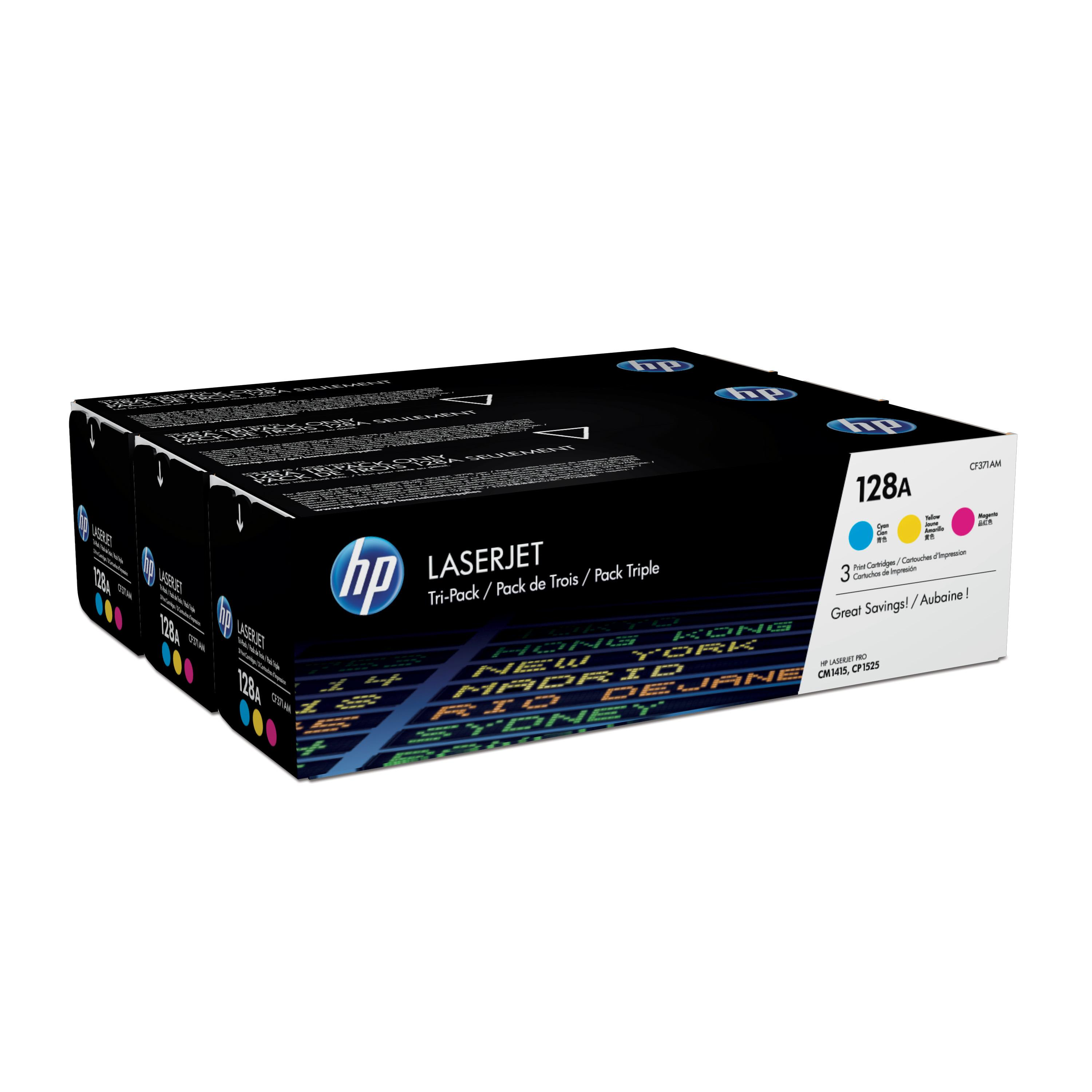 Hewlett Packard [HP] 128A Laser Toner Cartridge Page Life 1300pp Cyan/Magenta/Yellow Ref CF371AM [Pack 3]