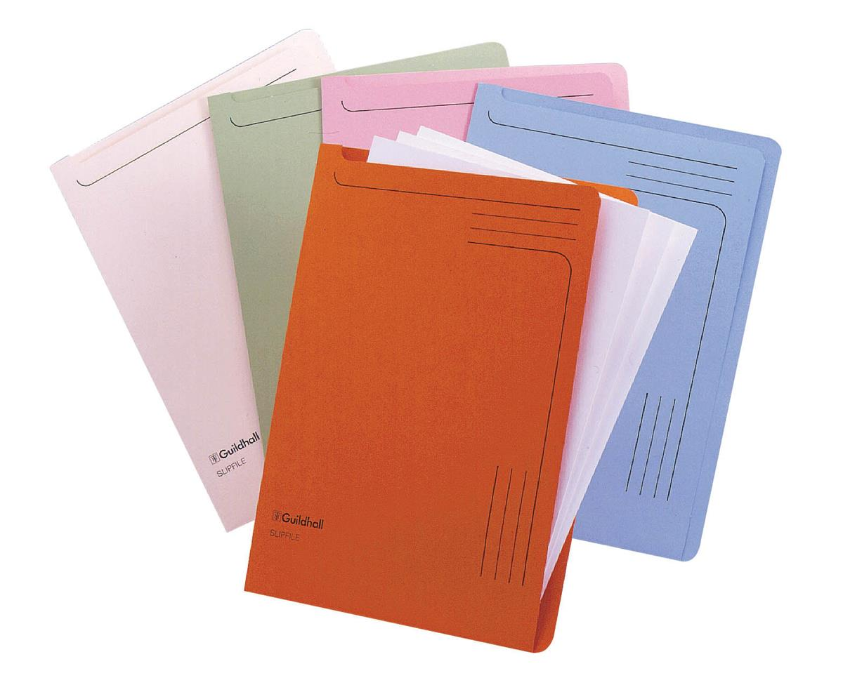 Image for Guildhall Slip Files A4 Assorted Blue/Pink/Cream/Green/Orange Ref 14600 [Pack 50]