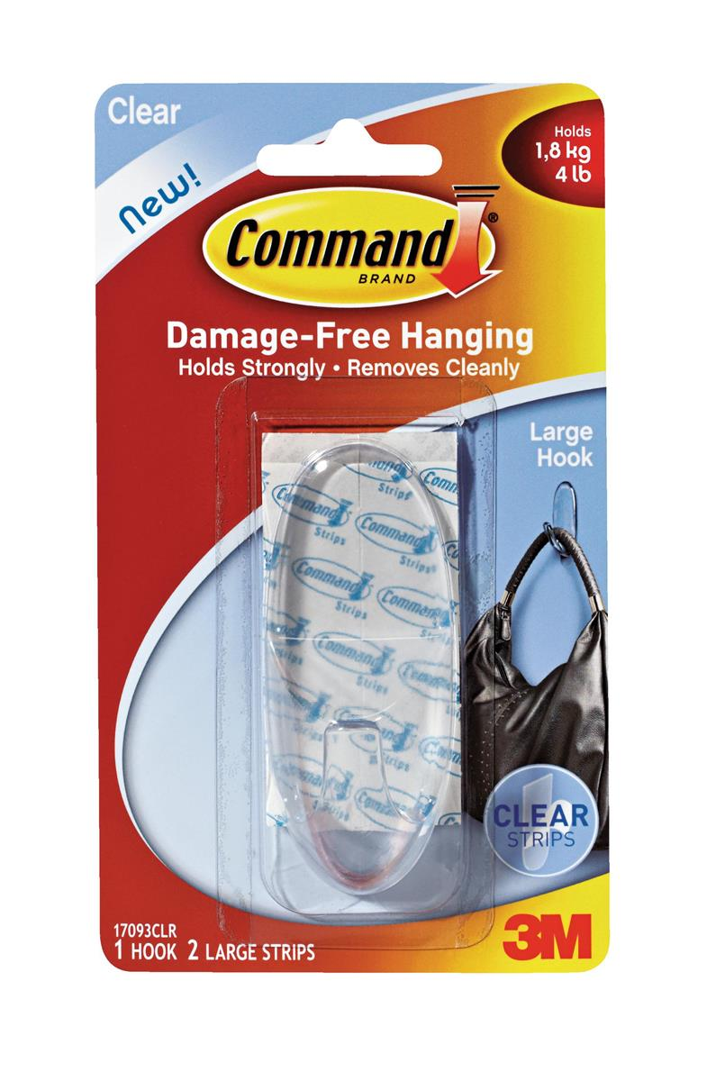 Image for Command Oval Adhesive Single Hook Large Clear Ref 17093CLR