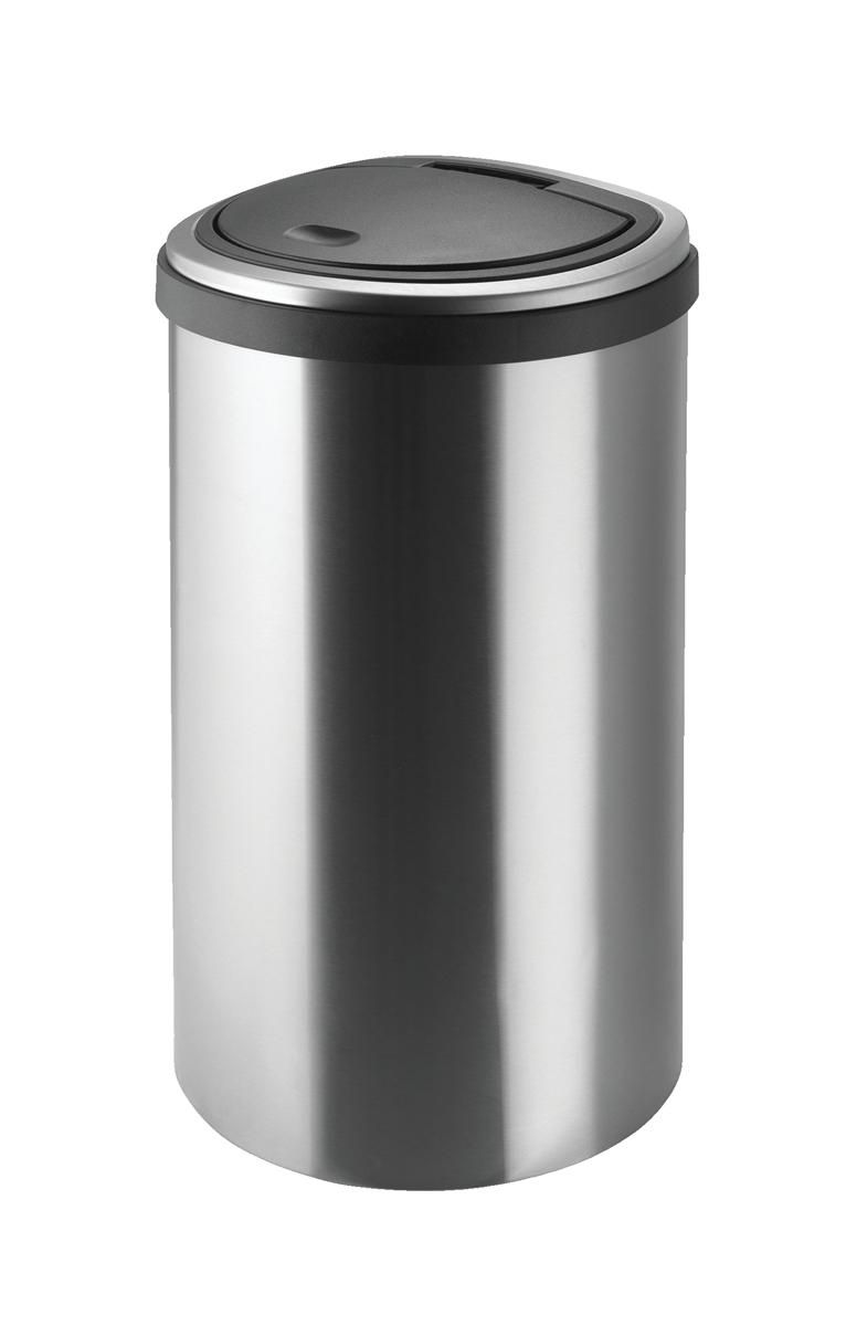 Image for Addis Deluxe D shape Flat Back Waste Bin 40 Litre Press Top Stainless Steel Ref 513866
