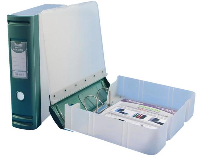 Image for Hermes Box File Polypropylene 80mm Spine A4 Metallic Green Ref 8BA4008