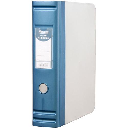 Image for Hermes Box File Polypropylene 80mm Spine A4 Metallic Blue Ref 8BA4007