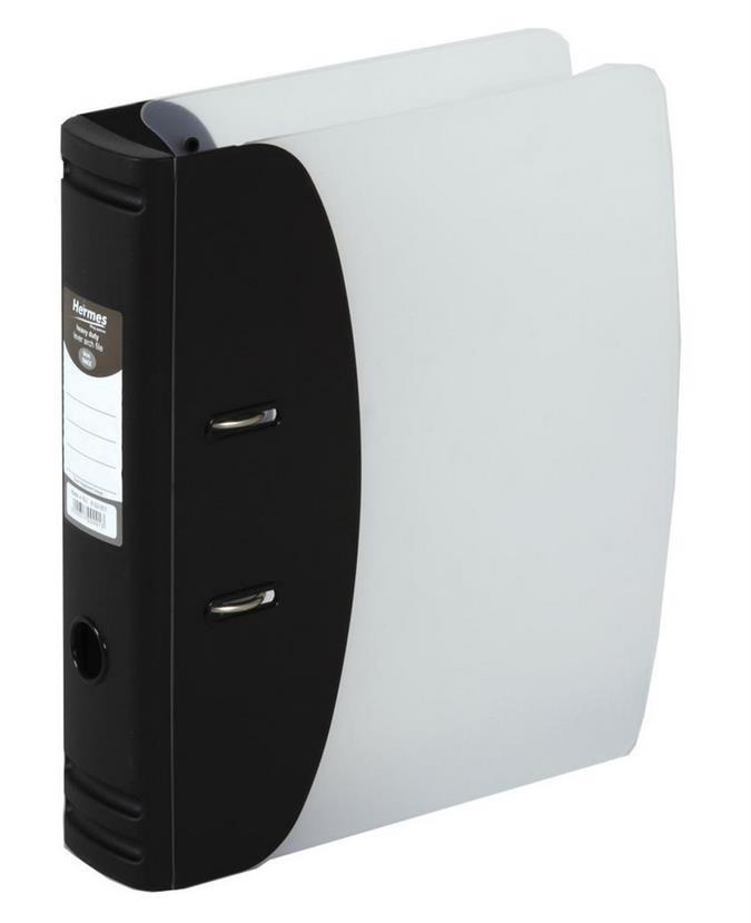 Image for Hermes Lever Arch File Polypropylene Capacity 50mm A4 Black Ref 832001