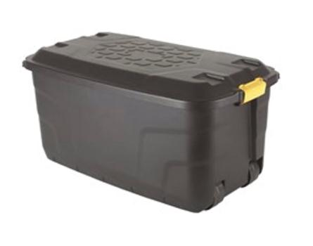Image for Strata Storage Trunk with Lid and Wheels 145 Litres W560xD960xH460mm Black Ref HW440