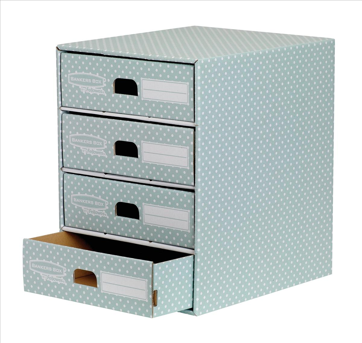 Image for Bankers Box by Fellowes 4 Drawer Unit Fastfold Recycled FSC A4 Green/White Ref 4481701