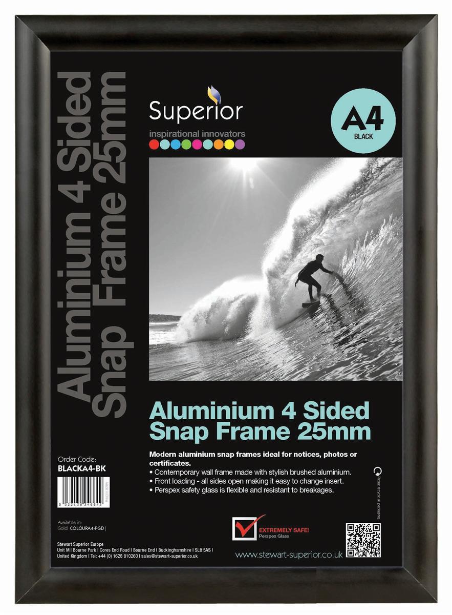 Image for Snap Frame with Mounting Kit Aluminium Anti-glare PVC A1 Black