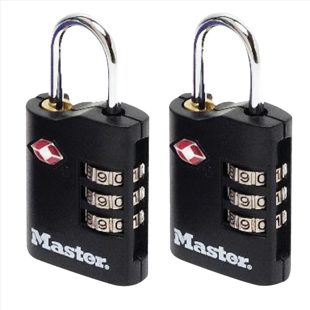 Masterlock Combination Padlock 3 Digit ABS TSA Certified 2x30mm Ref RY40046 [Pack 2]
