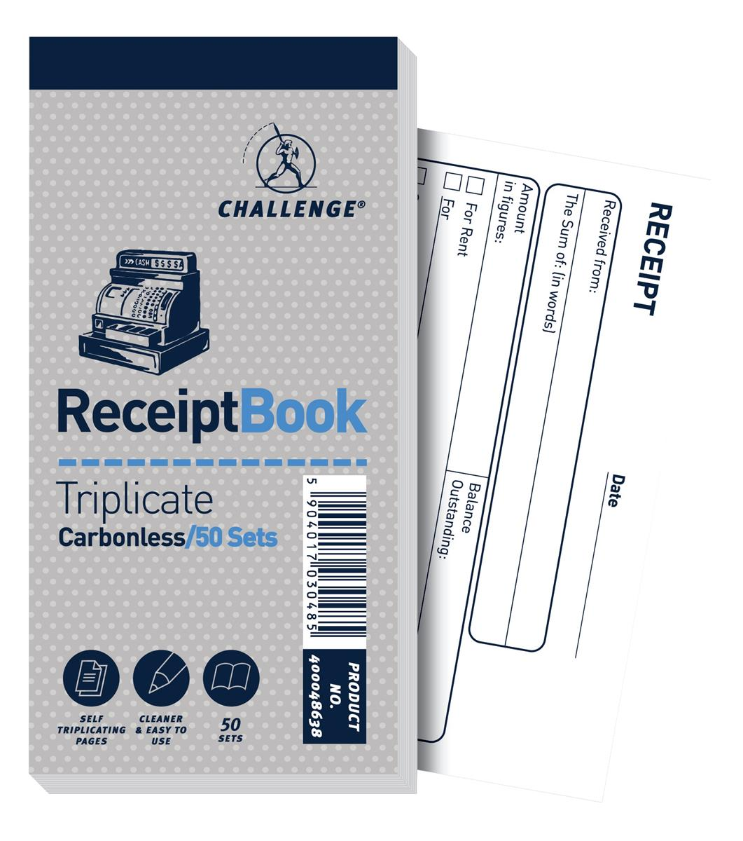 Image for Challenge Triplicate Book Carbonless Receipt 50 Receipts 140x70mm Ref 400048638 [Pack 10]