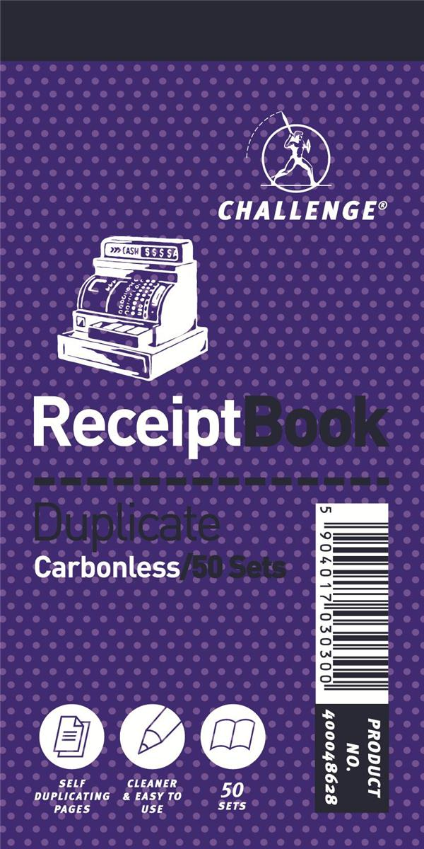 Image for Challenge Duplicate Book Carbonless Receipt 50 Receipts 140x70mm Ref 400048628 [Pack 10]