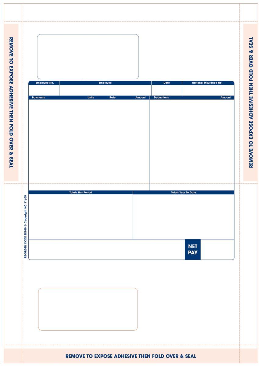 Sage Compatible Payslip Mailer Self Seal Ref SE100 [Pack 500]