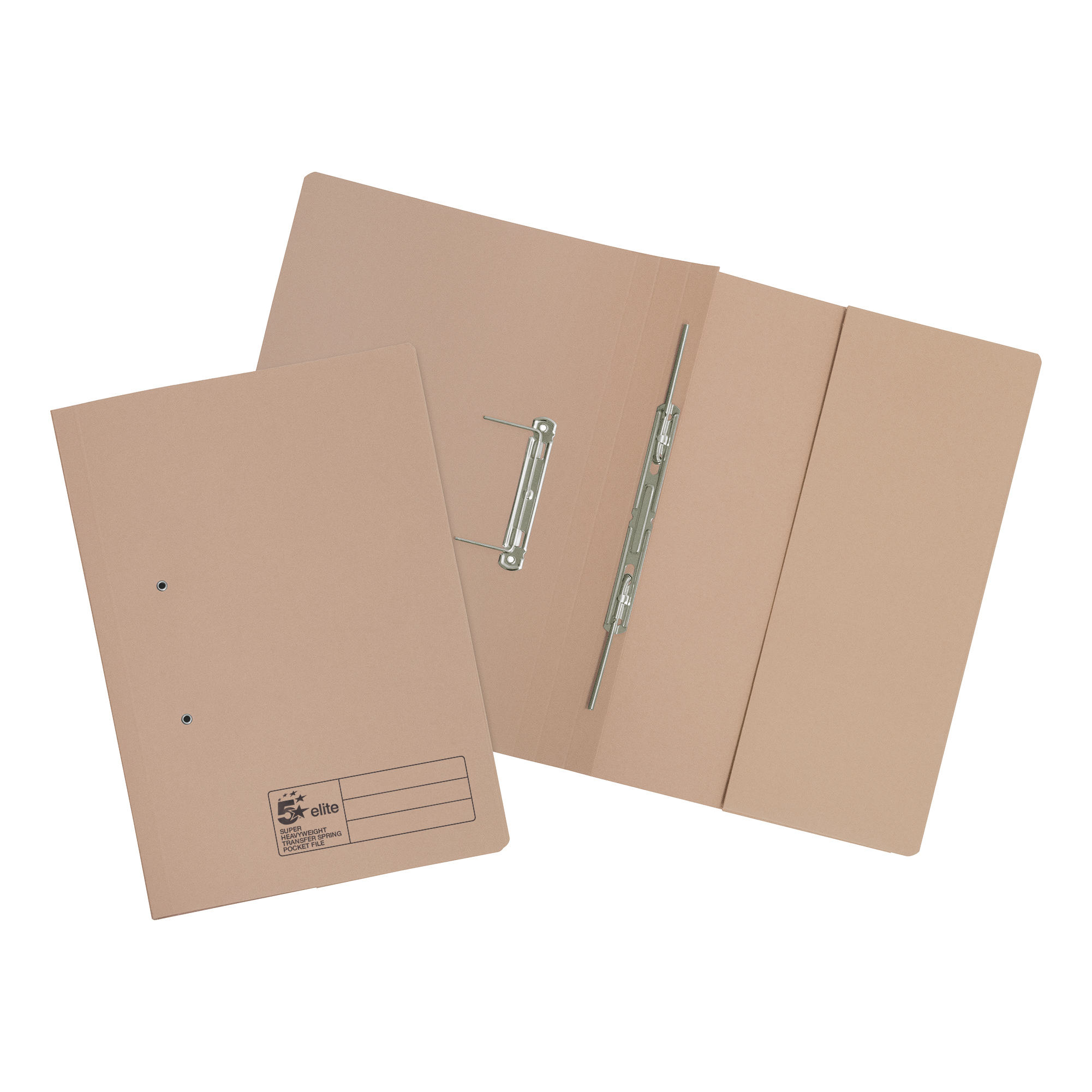 Spring Files 5 Star Elite Transfer Spring Pocket File Super Heavyweight 420gsm Foolscap Buff Pack 25