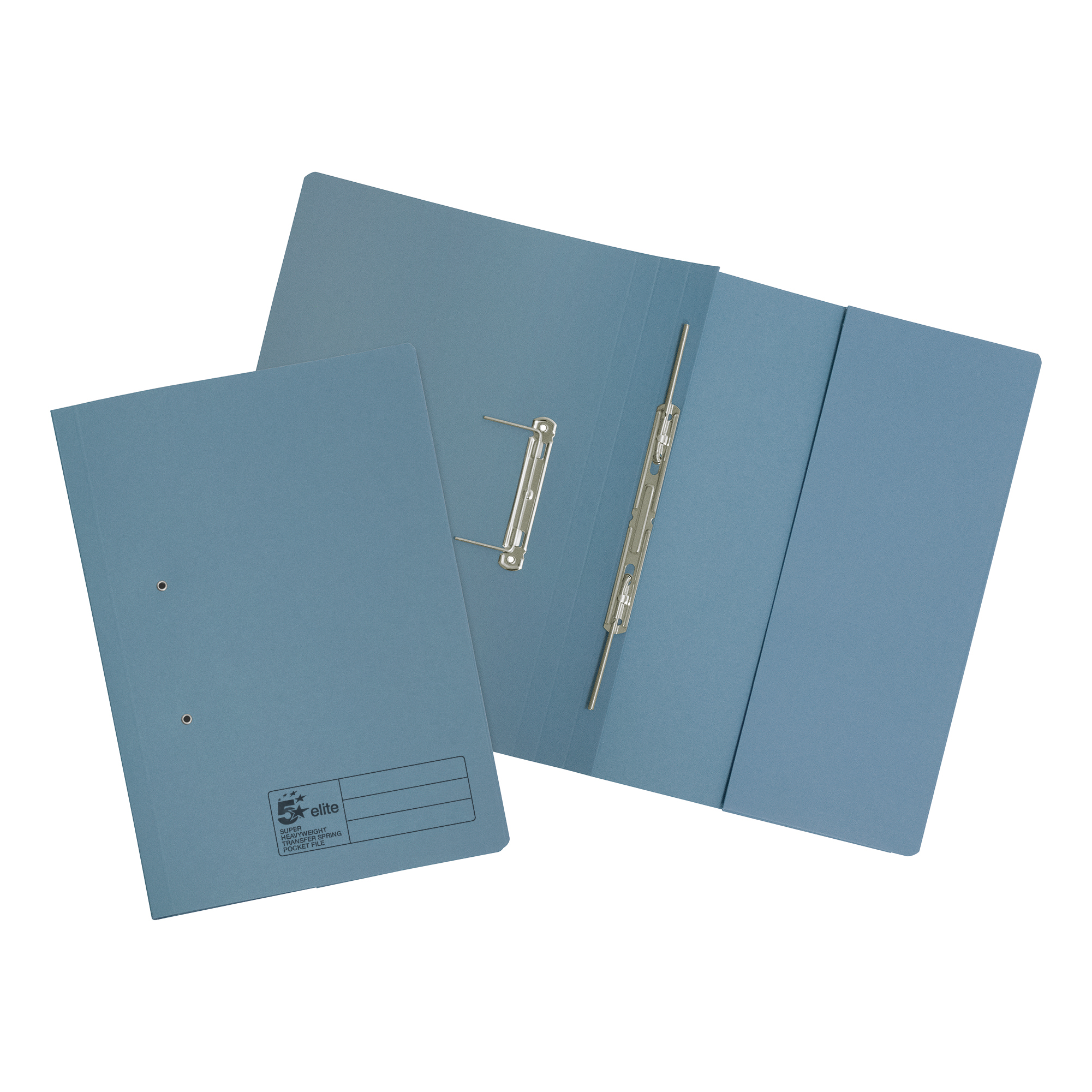 5 Star Elite Transfer Spring Pocket File Super Heavyweight 380gsm Foolscap Blue [Pack 25]