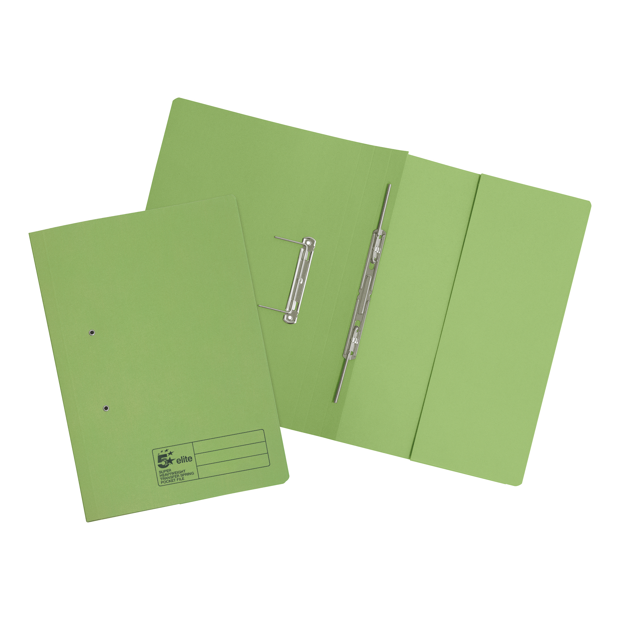Spring Files 5 Star Elite Transfer Spring Pocket File Super Heavyweight 420gsm Foolscap Green Pack 25