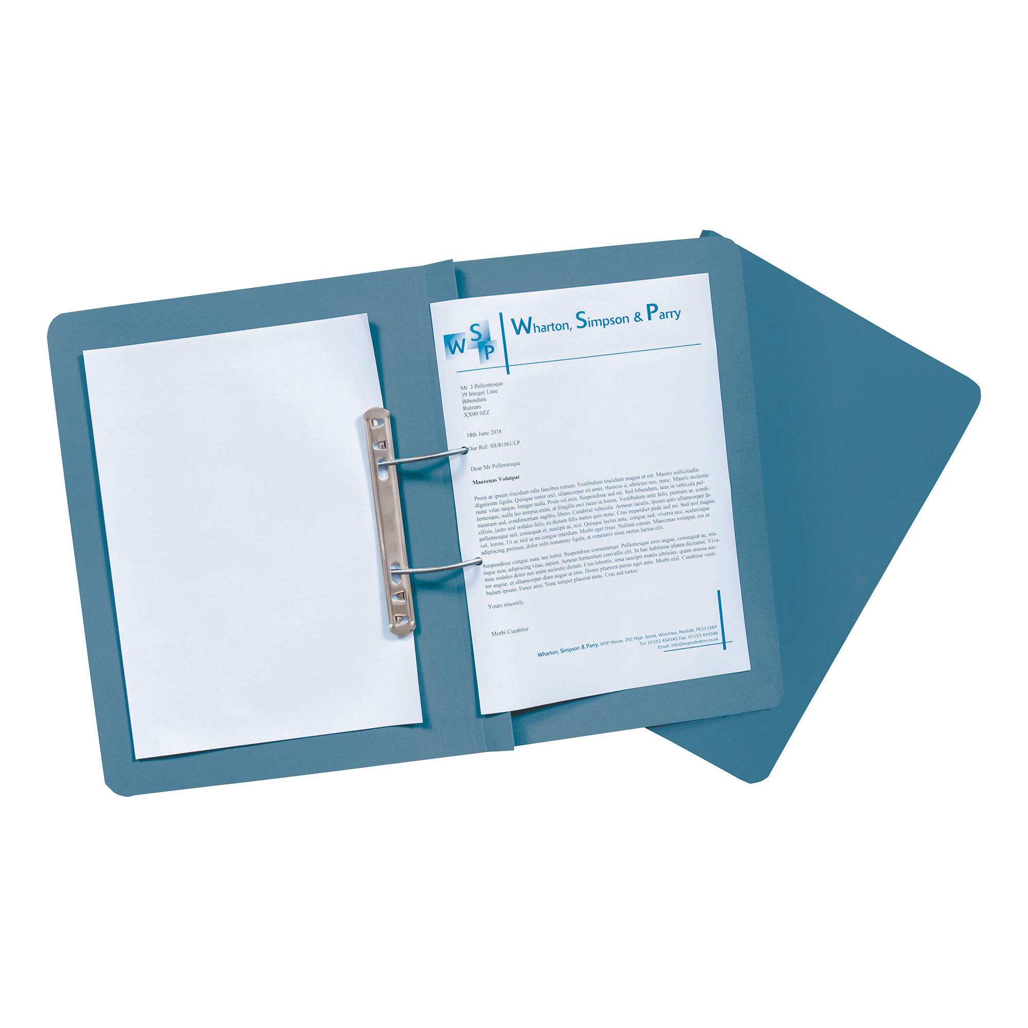 Guildhall Transfer Spring Files Heavyweight 315gsm Foolscap Blue Ref 348-BLUZ Pack 50