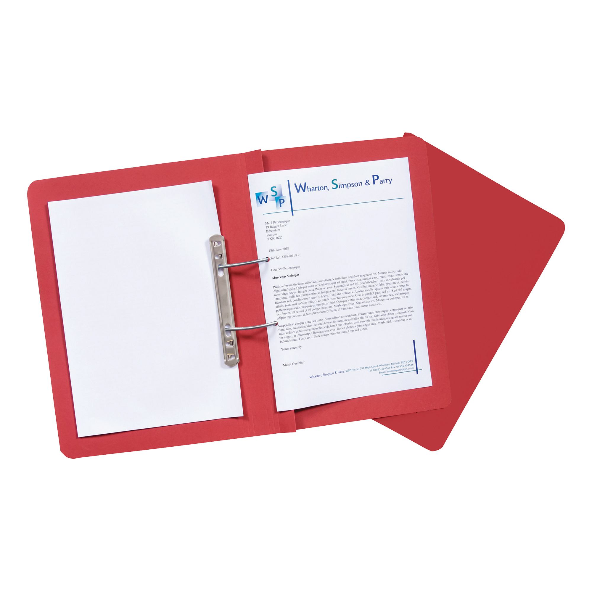 Guildhall Transfer Spring Files Heavyweight 315gsm Foolscap Red Ref 348-REDZ Pack 50