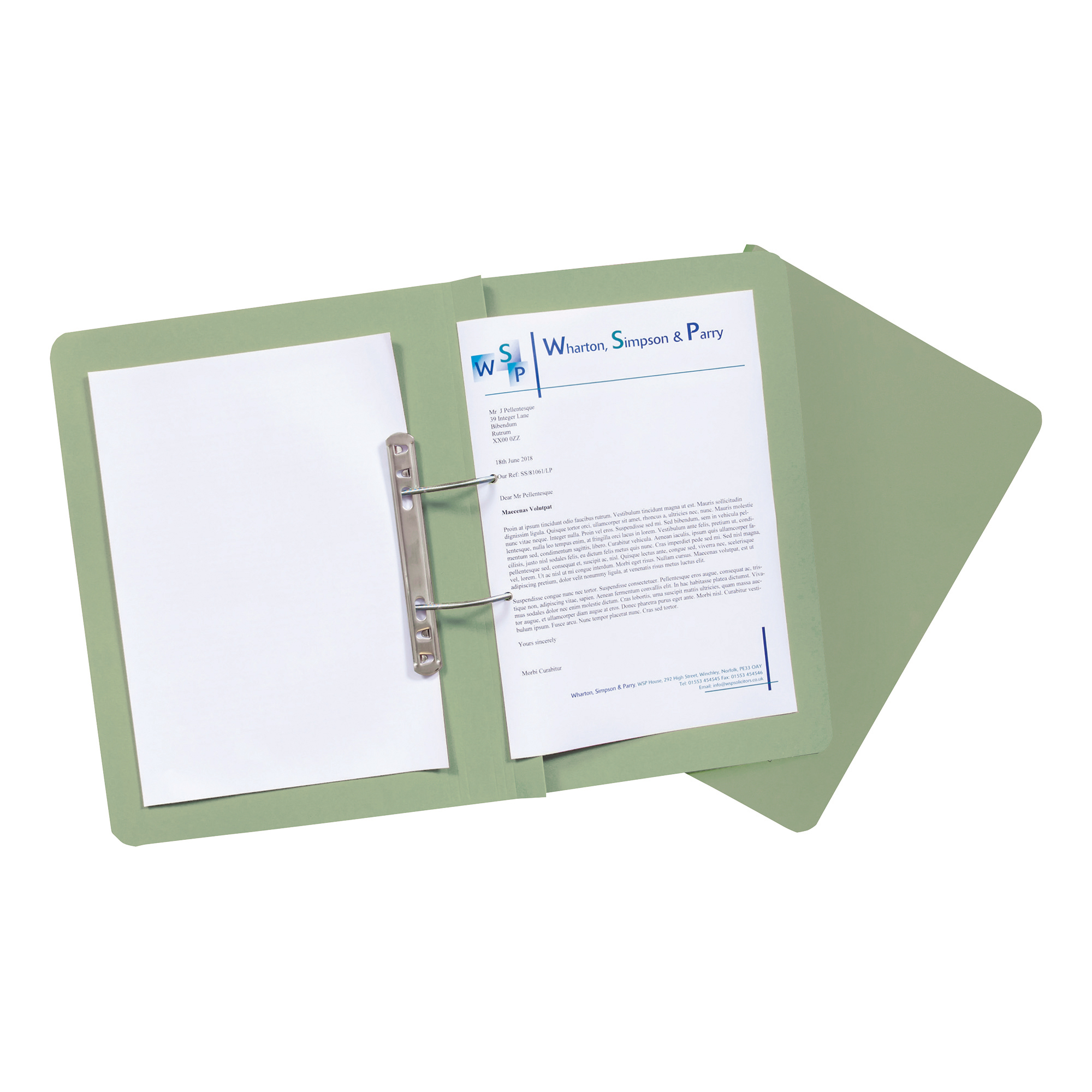 Guildhall Transfer Spring Files Heavyweight 315gsm Foolscap Green Ref 348-GRNZ Pack 50