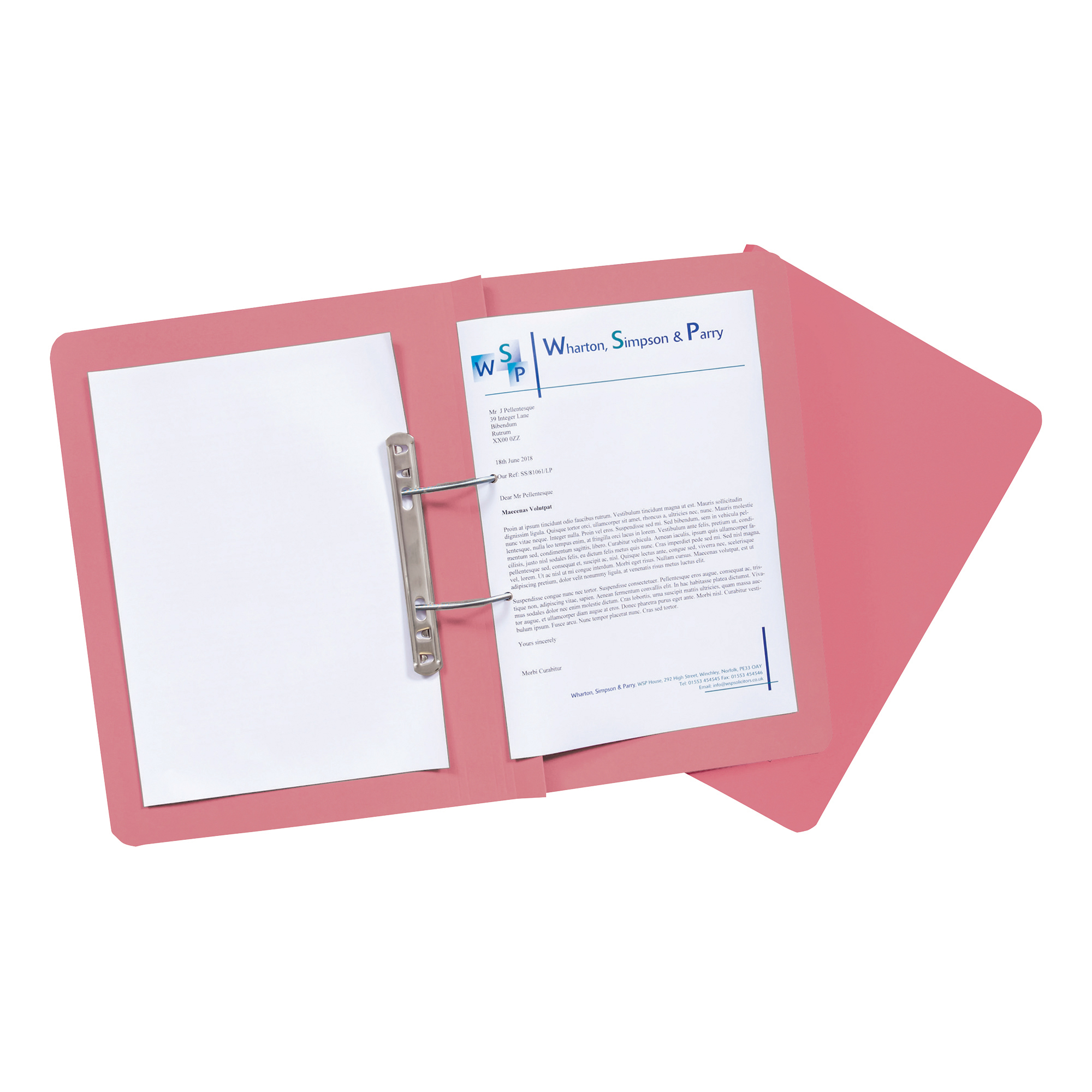 Guildhall Transfer Spring Files Heavyweight 315gsm Foolscap Pink Ref 348-PNKZ [Pack 50]