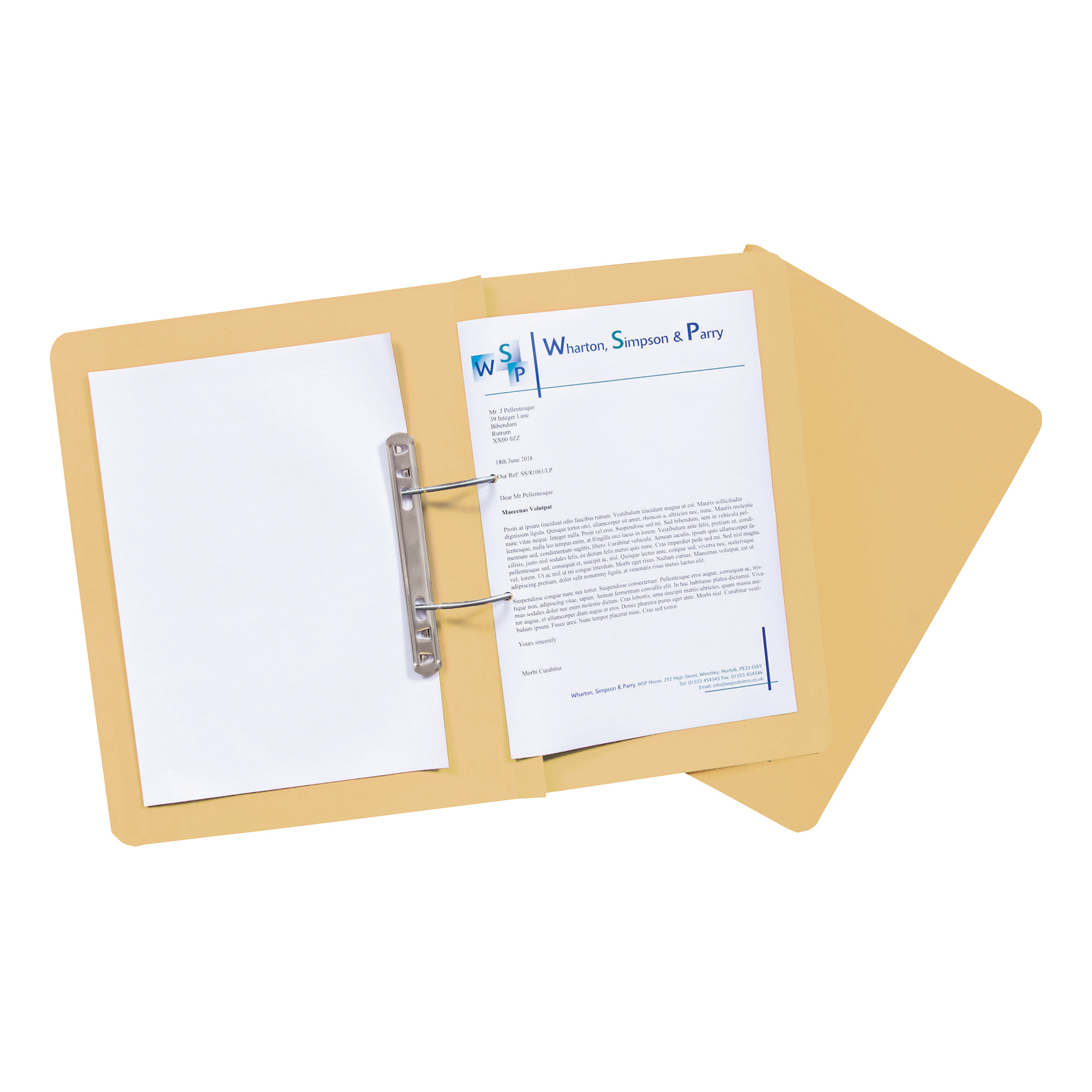 Guildhall Transfer Spring Files Heavyweight 315gsm Foolscap Yellow Ref 348-YLWZ Pack 50