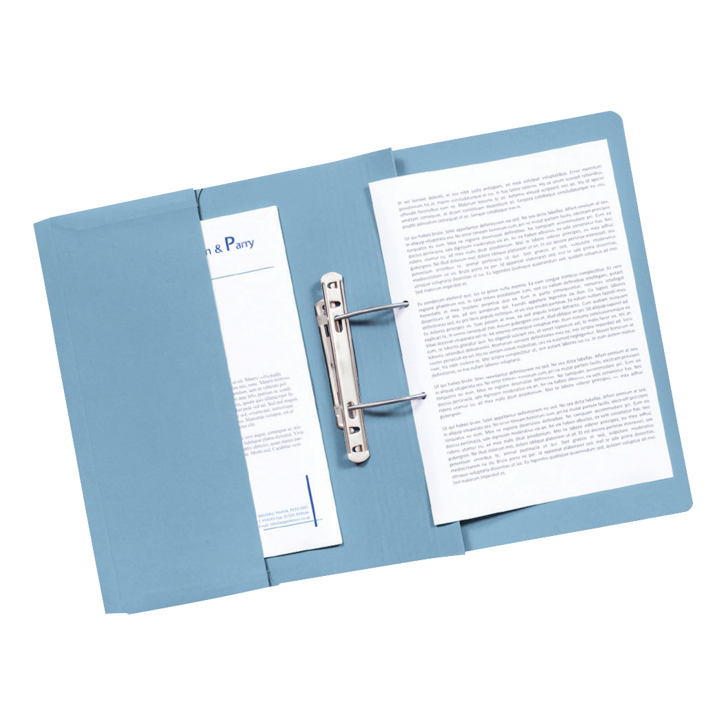 Guildhall Transfer Spring Files with Inside Pocket 315gsm 38mm Foolscap Blue Ref 349-BLUZ Pack 25