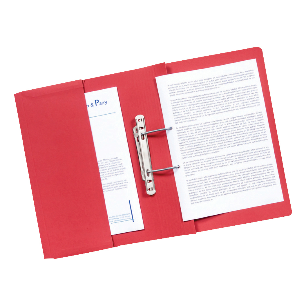 Guildhall Transfer Spring Files with Inside Pocket 315gsm 38mm Foolscap Red Ref 349-REDZ Pack 25