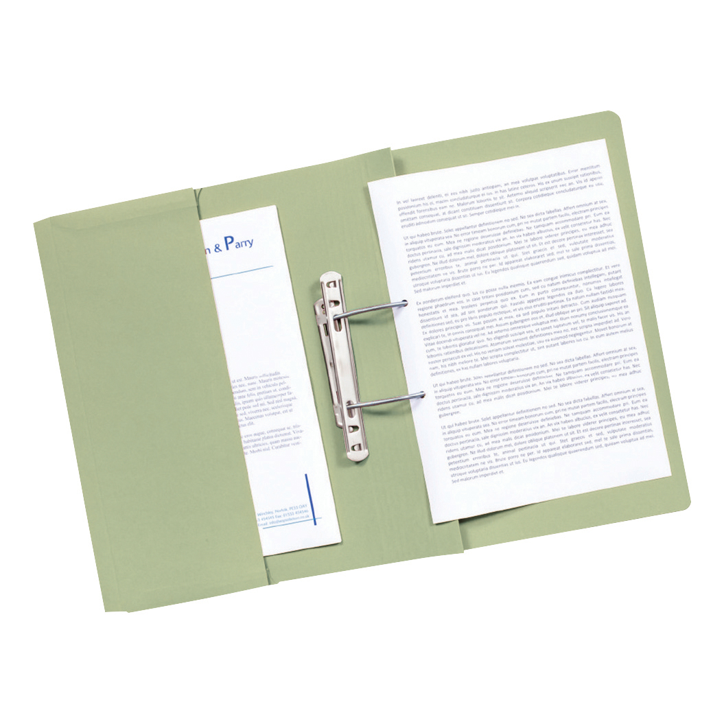 Guildhall Transfer Spring Files with Inside Pocket 315gsm 38mm Foolscap Green Ref 349-GRNZ Pack 25