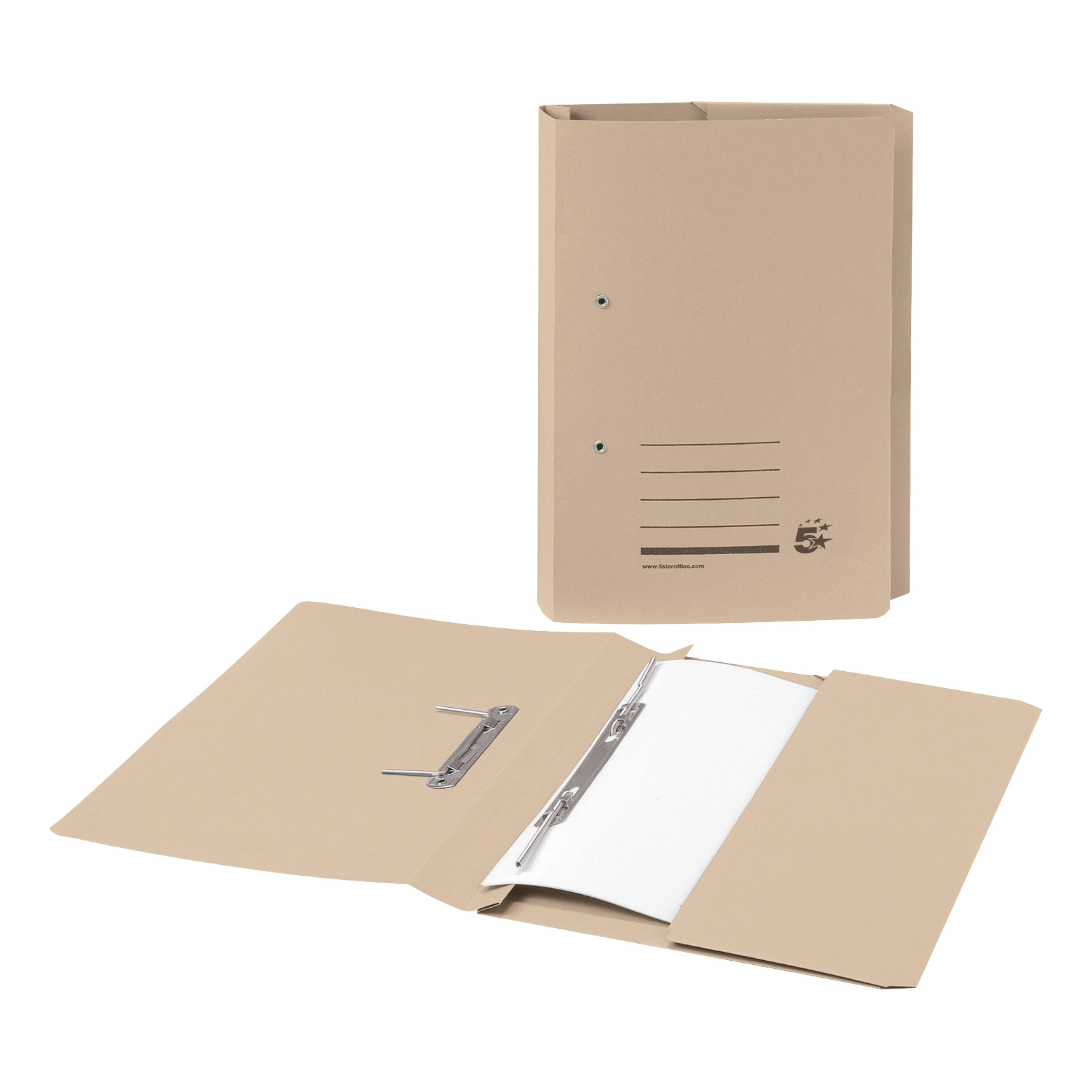 Spring Files 5 Star Office Transfer Spring Pocket File Recycled Mediumweight 285gsm Capacity Foolscap Buff Pack 25