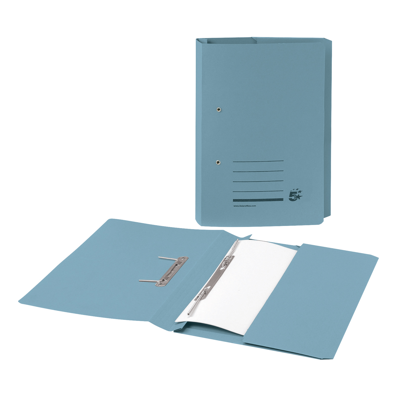 Spring Files 5 Star Office Transfer Spring Pocket File Recycled Mediumweight 285gsm Foolscap Blue Pack 25