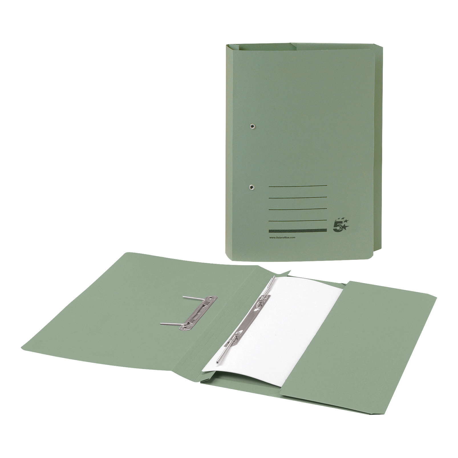 5 Star Office Transfer Spring Pocket File Recycled Mediumweight 285gsm Foolscap Green [Pack 25]