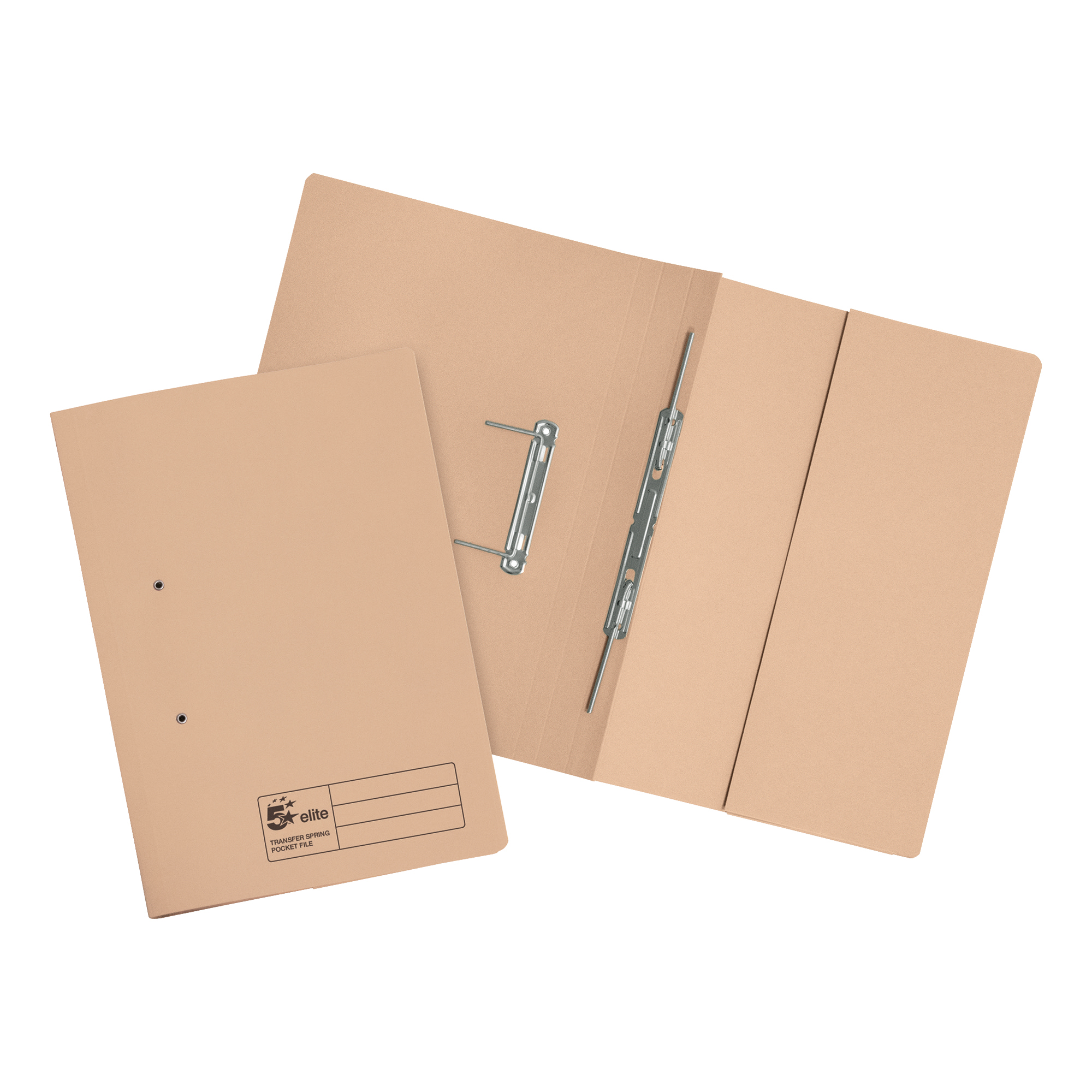 Spring Files 5 Star Elite Transfer Spring Pocket File Heavyweight 315gsm Foolscap Buff Pack 25