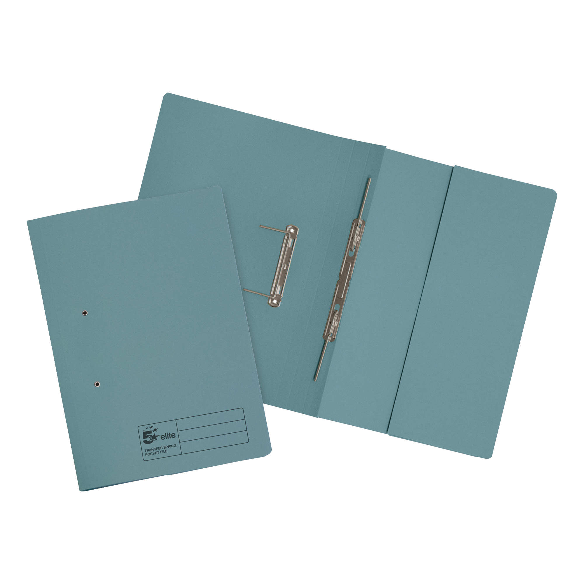 Spring Files 5 Star Elite Transfer Spring Pocket File Heavyweight 315gsm Foolscap Blue Pack 25