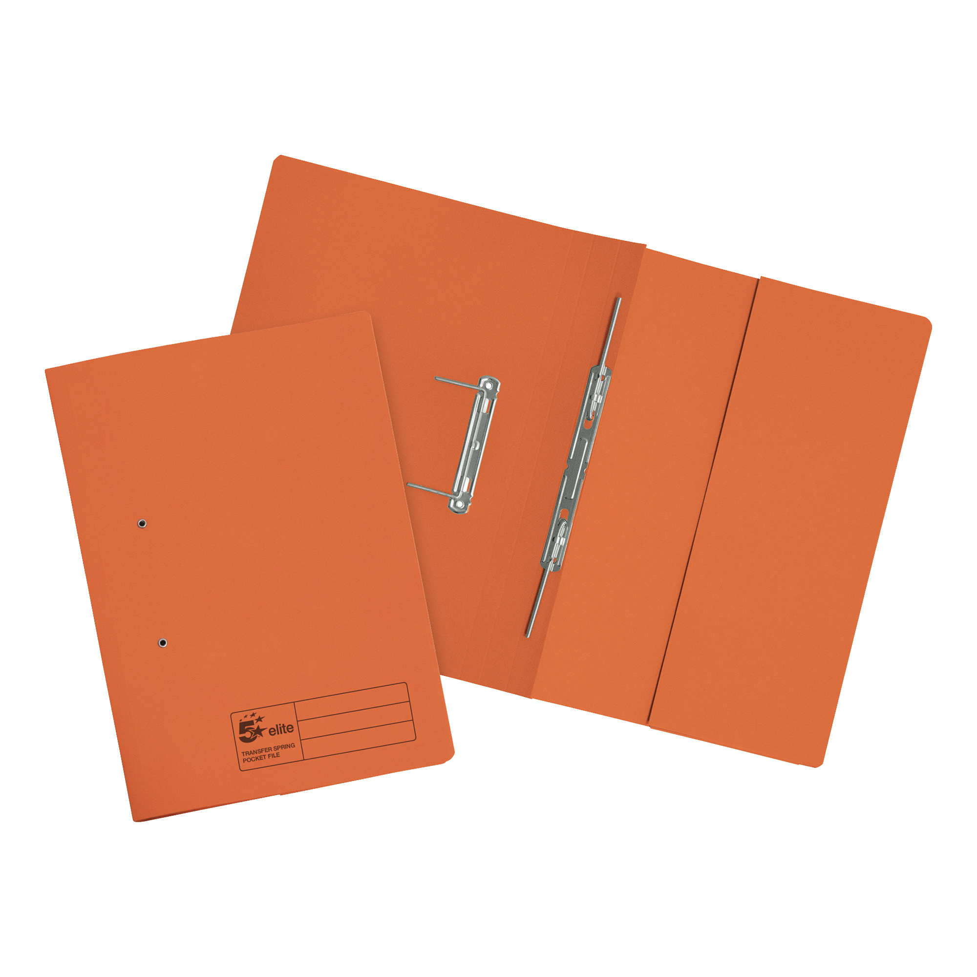 Spring Files 5 Star Elite Transfer Spring Pocket File Heavyweight 315gsm Foolscap Orange Pack 25
