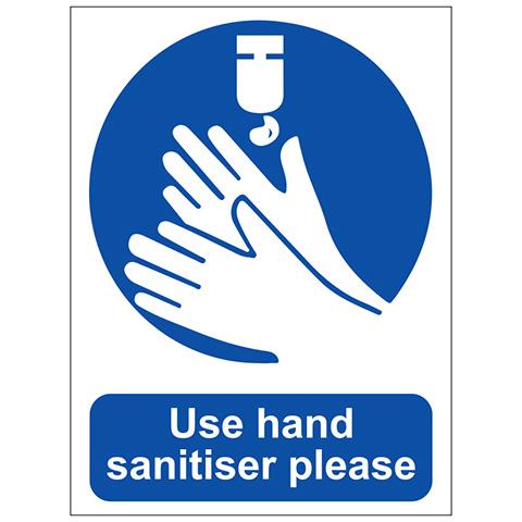 Safety signs Use Hand Sanitiser Sign Self Adhesive -  Self Adhesive Vinyl 200 x 150mm