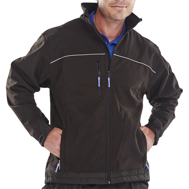 Soft Shell Click Workwear Soft Shell Jacket Water Resistant Windproof Small Black Ref SSJBLS *Approx 3 Day Leadtime*
