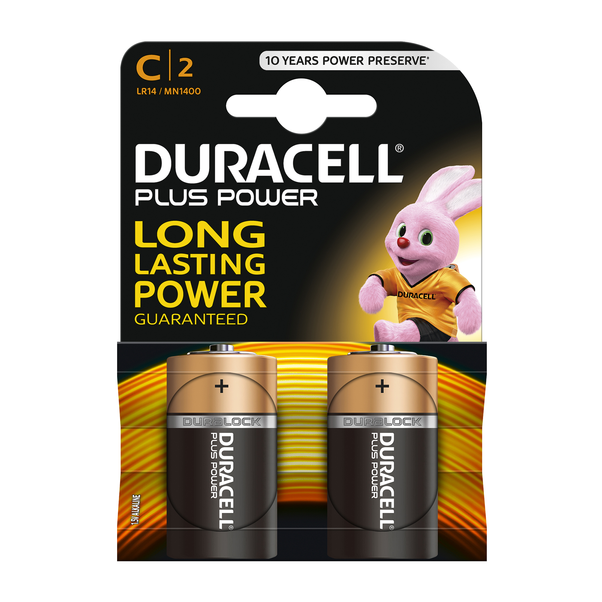 C Duracell Plus Power Battery Alkaline 1.5V C Ref 81275429 Pack 2